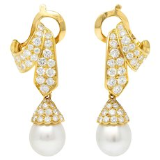 French Van Cleef & Arpels Pearl Pave Diamond 18 Karat Gold Convertible Earrings