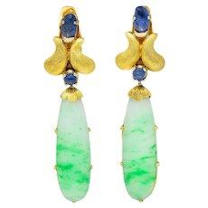 1960's Buccellati Jade Sapphire 18 Karat Two-Tone Gold Drop Ear-Clip Earrings
