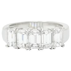 1990's Vintage 2.25 CTW Emerald Cut Diamond Platinum Band Ring