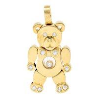 Chopard Diamond 18 Karat Yellow Gold Happy Diamond Bear Pendant