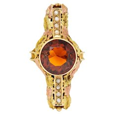 Arts & Crafts Citrine Pearl 14 Karat Tri-Gold Foliate Ring