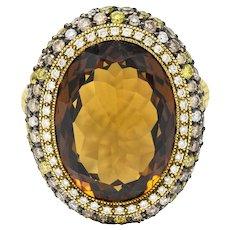 Judith Ripka Citrine Diamond & Fancy Colored Diamond 18 Karat Gold Monaco Ring