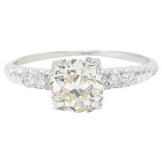 1950's Maurice Tishman 1.28 CTW Diamond Platinum Engagement Ring