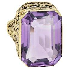 Late Victorian Amethyst 14 Karat Gold Gemstone Ring