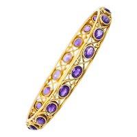 Durand & Co. Amethyst 14 Karat Gold Gemstone Bangle Bracelet