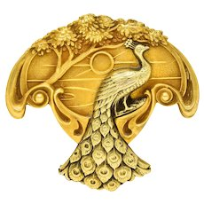 1900 Art Nouveau 14 Karat Two Tone Gold Peacock Brooch