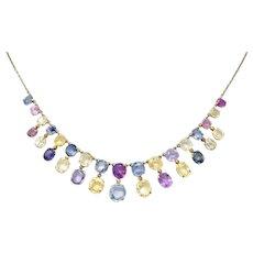1860's Victorian 31.50 CTW Fancy Sapphire Fringe Drop Necklace
