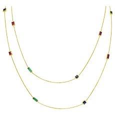 1960's Vintage 6.55 CTW Sapphire Emerald Ruby 14 Karat Gold Gemstone Station Necklace