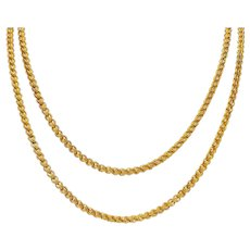 1890's Victorian 14 Karat Gold 44 Inch Long Chain Link Necklace