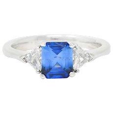 Contemporary 1.25 CTW Sapphire Diamond Three Stone Ring