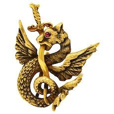 Art Nouveau 14 Karat Gold Dragon Serpent Watch Pin Brooch