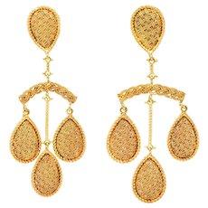1970's Ruth Satsky 18 Karat Gold Chandelier Drop Ear-Clip Earrings