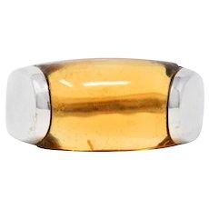 Bulgari Citrine 18 Karat White Gold Tronchetto Gemstone Band Ring