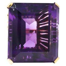 Vintage Amethyst Diamond 18 Karat Two-Tone Gold Statement Ring