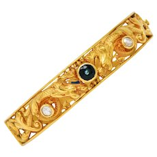 Whiteside & Blank Sapphire Diamond 14 Karat Gold Dragon Bangle Bracelet