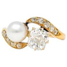 Victorian Pearl 0.88 CTW Diamond 14 Karat Gold Toi Et Moi Bypass Ring