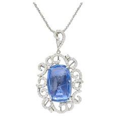 Contemporary 9.78 CTW No Heat Ceylon Diamond Platinum Scrolled Pendant Necklace GIA