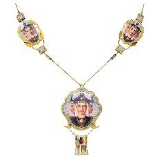 1870's Egyptian Revival Enamel Rose Cut Diamond 18 Karat Gold Goddess Victorian Swag Necklace