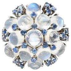 1950's Moonstone Sapphire Platinum Cluster Cocktail Ring