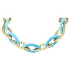 Vhernier Turquoise 18 Karat Yellow Gold Doppio Senso Collar Necklace