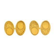 1905 Bippart & Co. 14 Karat Gold Moonlit Wave Men's Nouveau Cufflinks