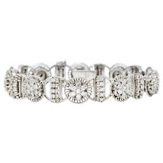 1950's Jabel 3.00 CTW Diamond 18 Karat White Gold Cluster Link Bracelet