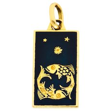 1970's Italian Enamel 18 Karat Gold Pisces Zodiac Charm