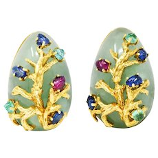 1970's Seaman Schepps Aventurine Ruby Sapphire Emerald 18 Karat Gold Vintage Ear-Clip Earrings