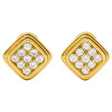 Harry Winston by Jacques Timey 1.50 CTW Diamond 18 Karat Gold Navette Ear-Clip Earrings