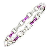 J.E. Caldwell 4.50 CTW Diamond Ruby Platinum Buckle Link Bracelet