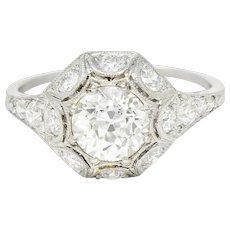 Art Deco 1.62 CTW Diamond Platinum Starburst Cluster Ring