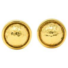 David Webb 18 Karat Hammered Yellow Gold Dome Ear-Clip Earrings