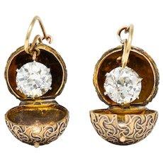 Victorian 3.18 CTW Diamond Platinum 14 Karat Gold Carriage Coach Cover Drop Earrings