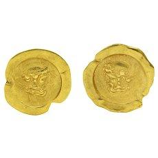 1986 Kieselstein Cord 18 Karat Gold Poseidon Ear-Clip Earrings