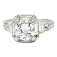 Art Deco 2.30 CTW Diamond Platinum Octagonal Engagement Ring