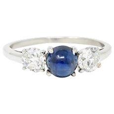 Raymond Yard 2.80 CTW No Heat Cabochon Sapphire Diamond Platinum Ring GIA
