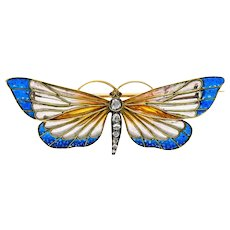 1890's French Victorian Plique-A-Jour Enamel Diamond Butterfly Brooch