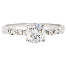 Late Art Deco 0.82 CTW Diamond Platinum Engagement Ring