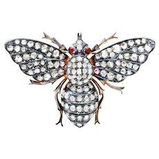 Victorian 2.50 CTW Rose Cut Diamond Silver-Topped 14 Karat Gold Bee Brooch