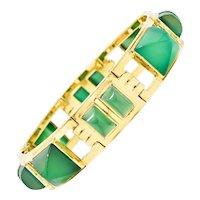 1930's Art Deco French Sugarloaf Chrysoprase 18 Karat Gold Link Bracelet