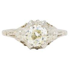 Art Deco 0.82 CTW Diamond 14 Karat White Gold Blossom Engagement Ring