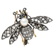 1860's French Victorian Pearl 1.00 CTW Diamond Silver-Topped 18 Karat Gold Insect Brooch