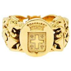 Victorian 18 Karat Gold Unisex Lion Heraldry Signet Ring