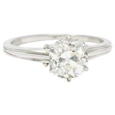 Edwardian 1.53 CTW Old Mine Platinum Engagement Ring GIA