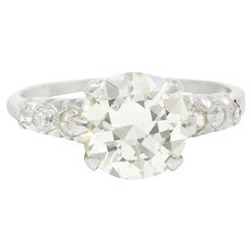 1950's Mid-Century 2.74 CTW Diamond Platinum Engagement Ring