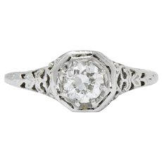 Edwardian 0.45 CTS Diamond & 19K White Gold Engagement Ring