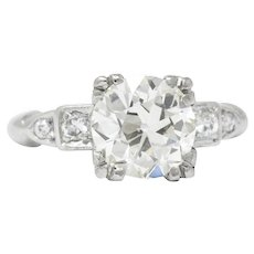 1950's 2.01 CTW Diamond And Palladium Engagement Ring GIA