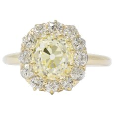 2.59 CTW Victorian Fancy Yellow Diamond White Diamond And 14 Karat Gold Engagement Ring GIA