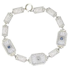 1930's Camphor Glass Diamond Sapphire 14 Karat White Gold Bracelet