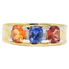 Contemporary 1.80 CTW Tri-Color Sapphire Diamond 18 Karat Gold Unisex Ring